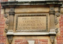 The inscription above the school Library, which was built as a memorial to those who died in WWI.